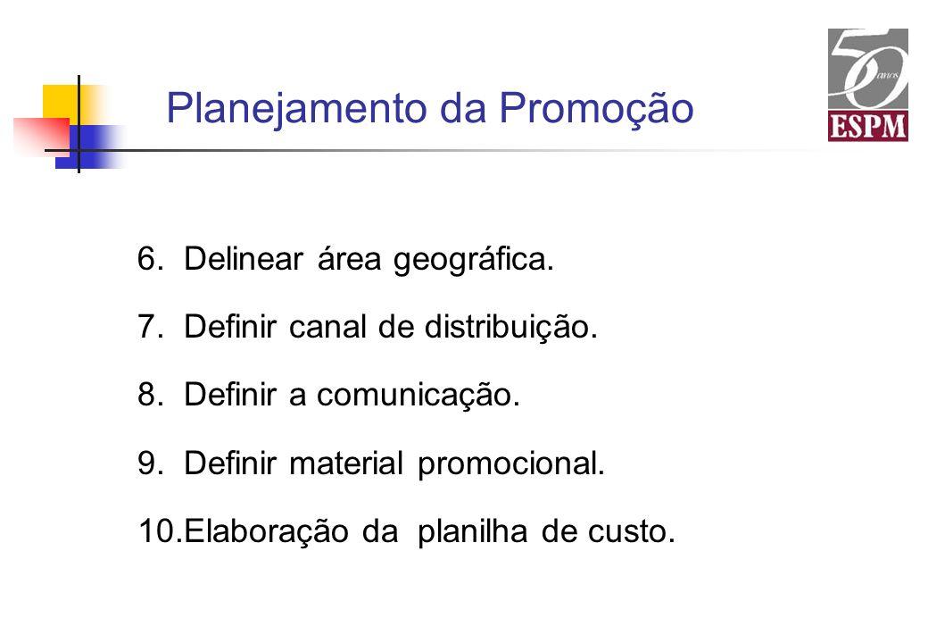 6. Delinear área geográfica. 7. Definir canal de distribuição. 8. Definir a comunicação. 9. Definir material promocional. 10.Elaboração da planilha de