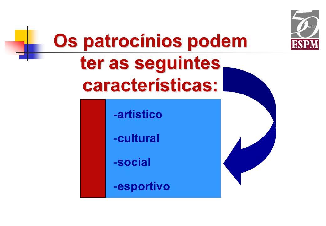 Os patrocínios podem ter as seguintes características: -artístico -cultural -social -esportivo