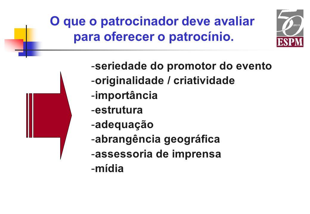 -seriedade do promotor do evento -originalidade / criatividade -importância -estrutura -adequação -abrangência geográfica -assessoria de imprensa -míd