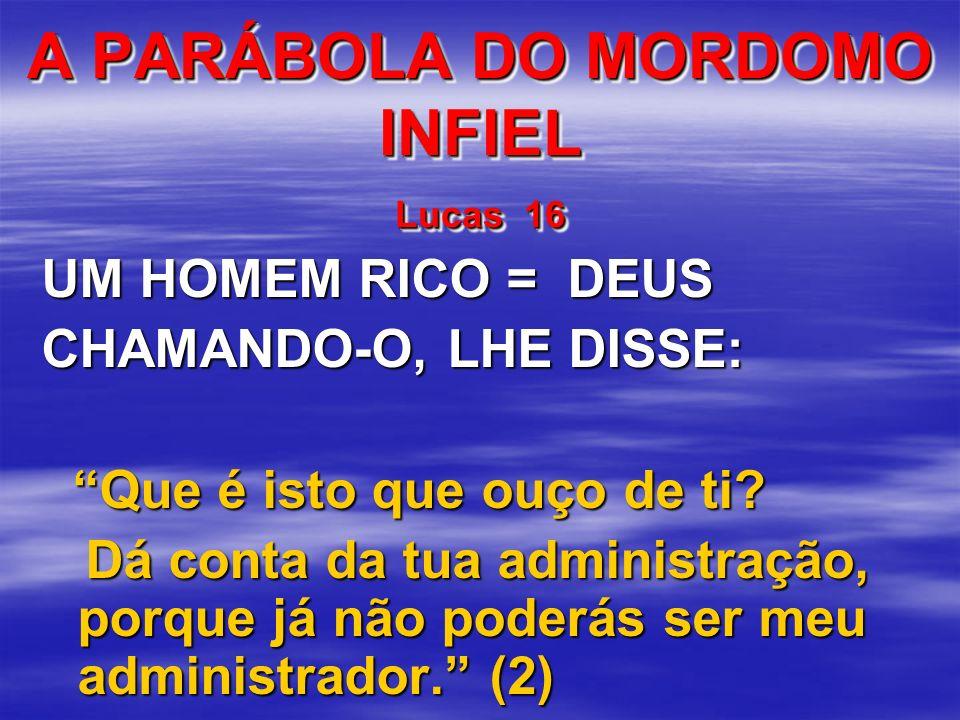 A PARÁBOLA DO MORDOMO INFIEL Lucas 16 UM HOMEM RICO = DEUS CHAMANDO-O, LHE DISSE: Que é isto que ouço de ti? Que é isto que ouço de ti? Dá conta da tu