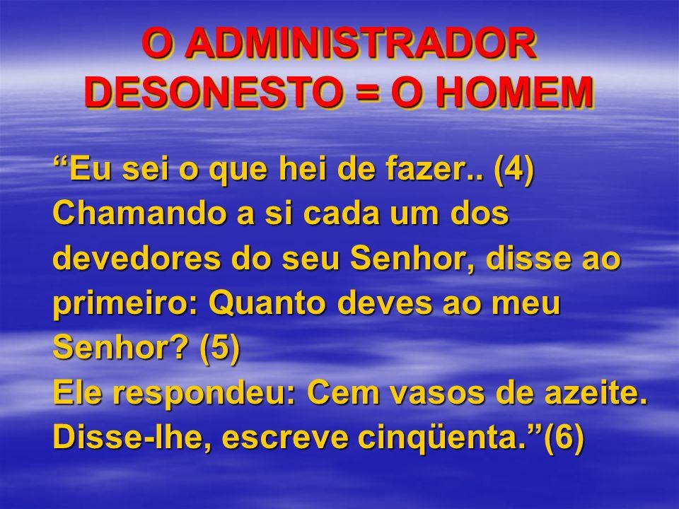 O ADMINISTRADOR DESONESTO = O HOMEM Eu sei o que hei de fazer.. (4) Chamando a si cada um dos devedores do seu Senhor, disse ao primeiro: Quanto deves