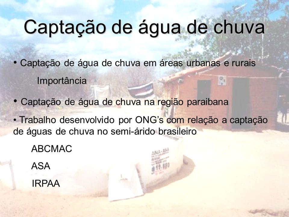 Captação de água de chuva Captação de água de chuva em áreas urbanas e rurais Importância Captação de água de chuva na região paraibana Trabalho desen
