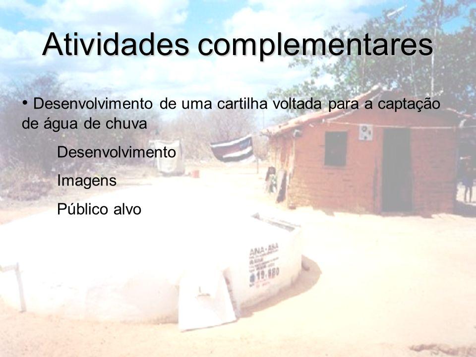 Atividades complementares Desenvolvimento de uma cartilha voltada para a captação de água de chuva Desenvolvimento Imagens Público alvo