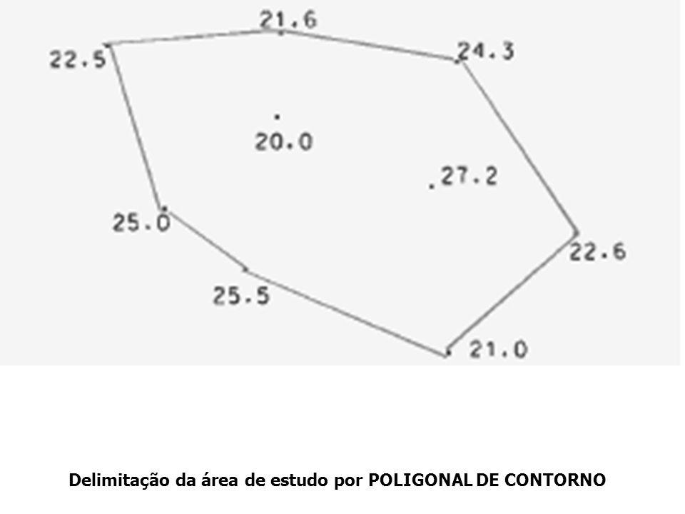 Delimitação da área de estudo por POLIGONAL DE CONTORNO