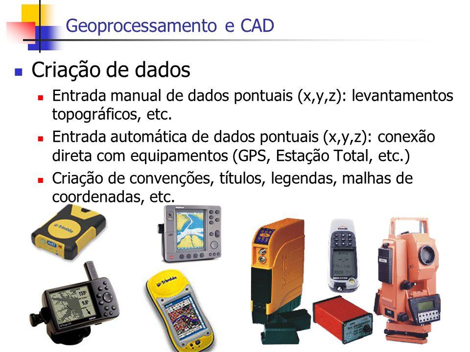 Criação de dados Entrada manual de dados pontuais (x,y,z): levantamentos topográficos, etc. Entrada automática de dados pontuais (x,y,z): conexão dire