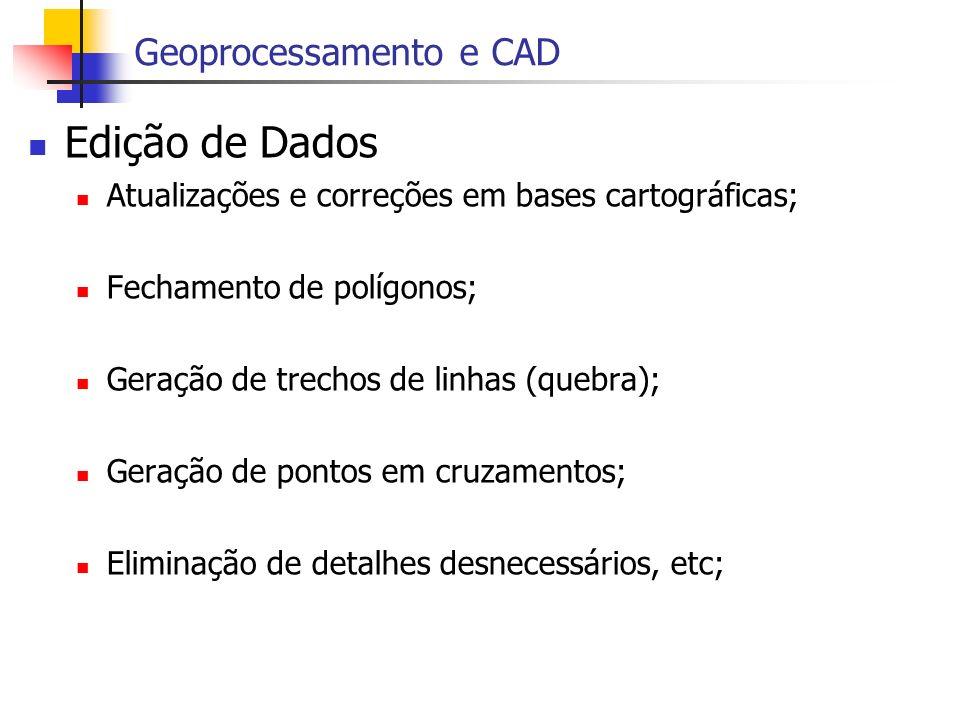 Edição de Dados Atualizações e correções em bases cartográficas; Fechamento de polígonos; Geração de trechos de linhas (quebra); Geração de pontos em