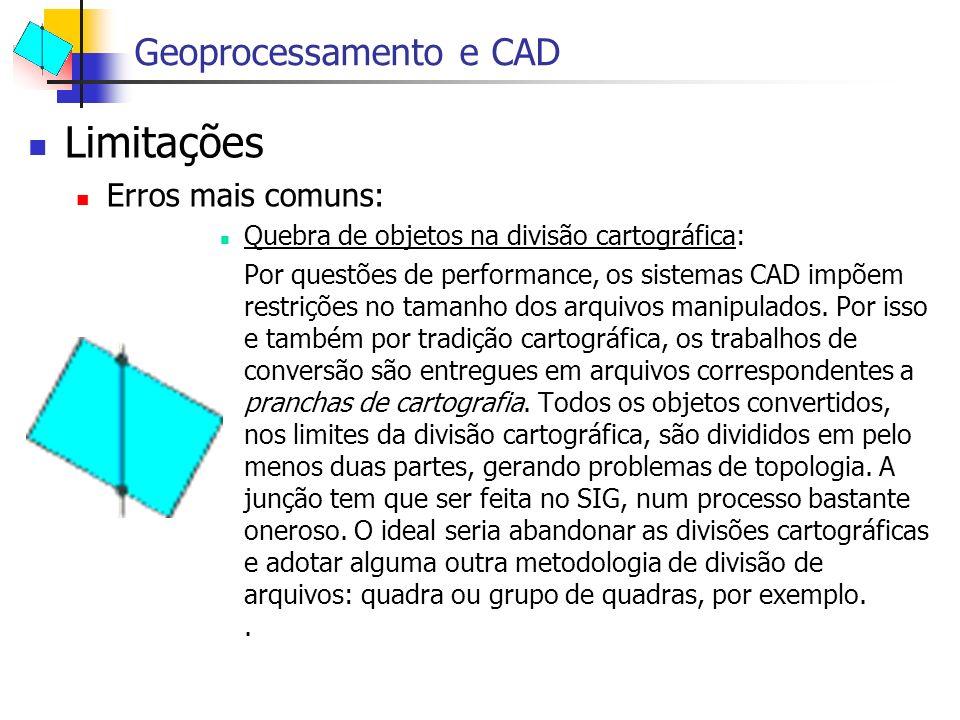 Limitações Erros mais comuns: Quebra de objetos na divisão cartográfica: Por questões de performance, os sistemas CAD impõem restrições no tamanho dos