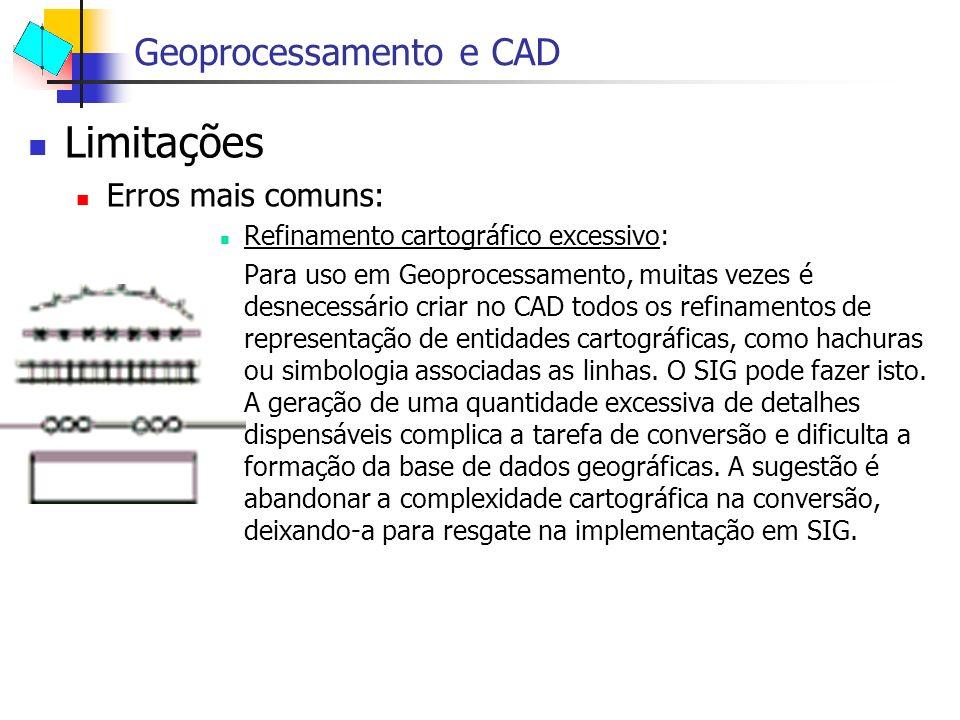 Limitações Erros mais comuns: Refinamento cartográfico excessivo: Para uso em Geoprocessamento, muitas vezes é desnecessário criar no CAD todos os ref