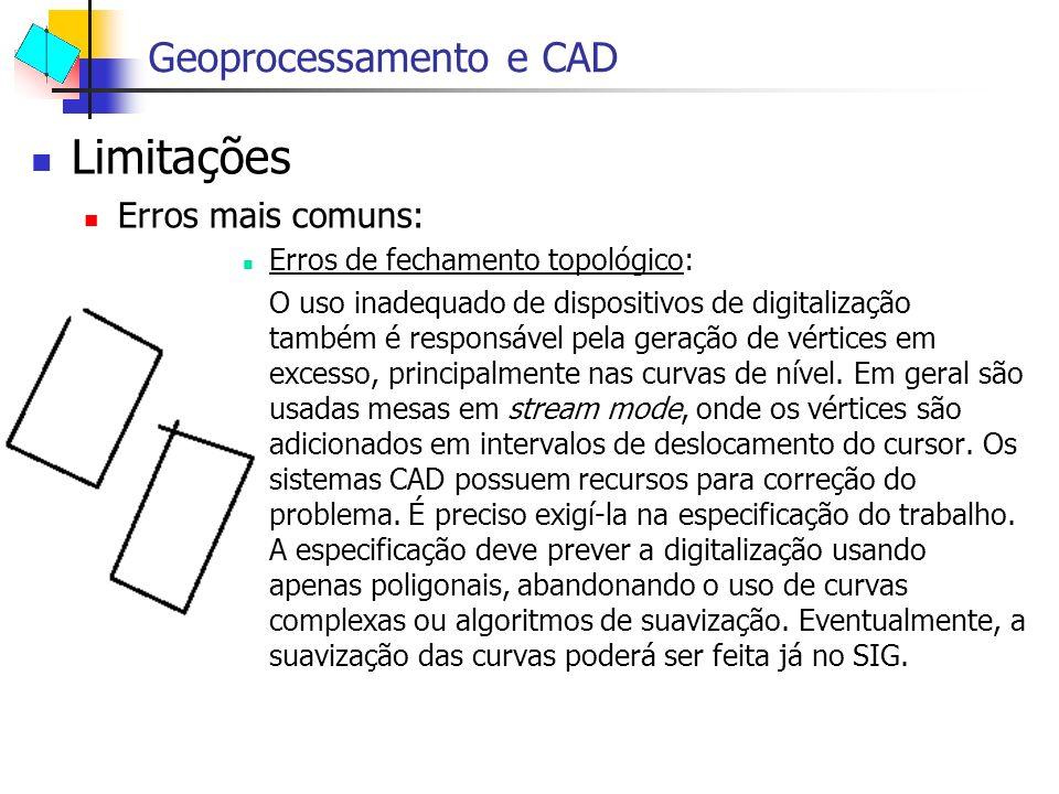 Limitações Erros mais comuns: Erros de fechamento topológico: O uso inadequado de dispositivos de digitalização também é responsável pela geração de v