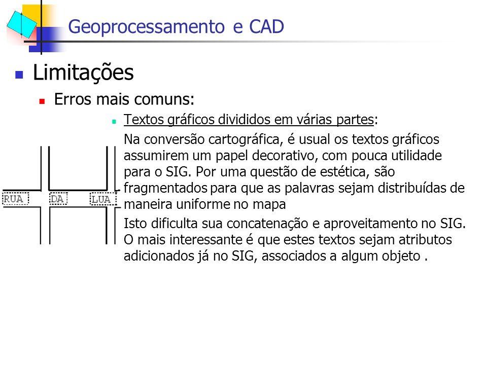 Limitações Erros mais comuns: Textos gráficos divididos em várias partes: Na conversão cartográfica, é usual os textos gráficos assumirem um papel dec