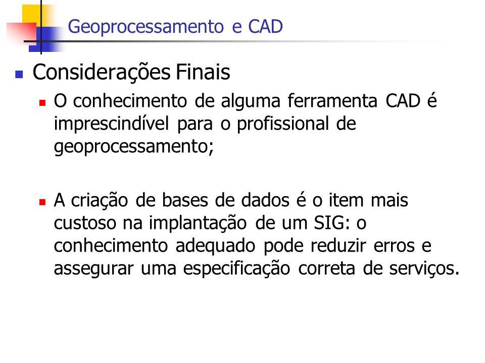 Considerações Finais O conhecimento de alguma ferramenta CAD é imprescindível para o profissional de geoprocessamento; A criação de bases de dados é o