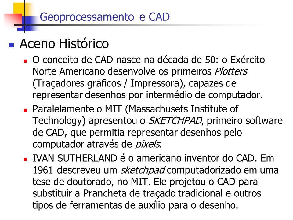 Aceno Histórico O conceito de CAD nasce na década de 50: o Exército Norte Americano desenvolve os primeiros Plotters (Traçadores gráficos / Impressora