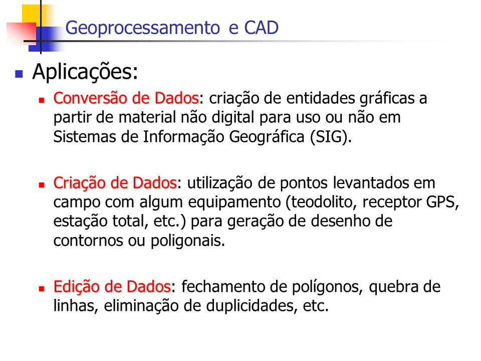 Aplicações: Conversão de Dados Conversão de Dados: criação de entidades gráficas a partir de material não digital para uso ou não em Sistemas de Infor