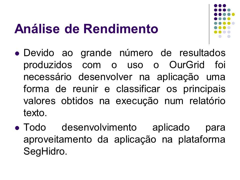 Análise de Rendimento Devido ao grande número de resultados produzidos com o uso o OurGrid foi necessário desenvolver na aplicação uma forma de reunir