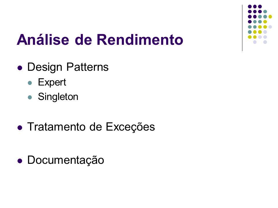 Análise de Rendimento Design Patterns Expert Singleton Tratamento de Exceções Documentação