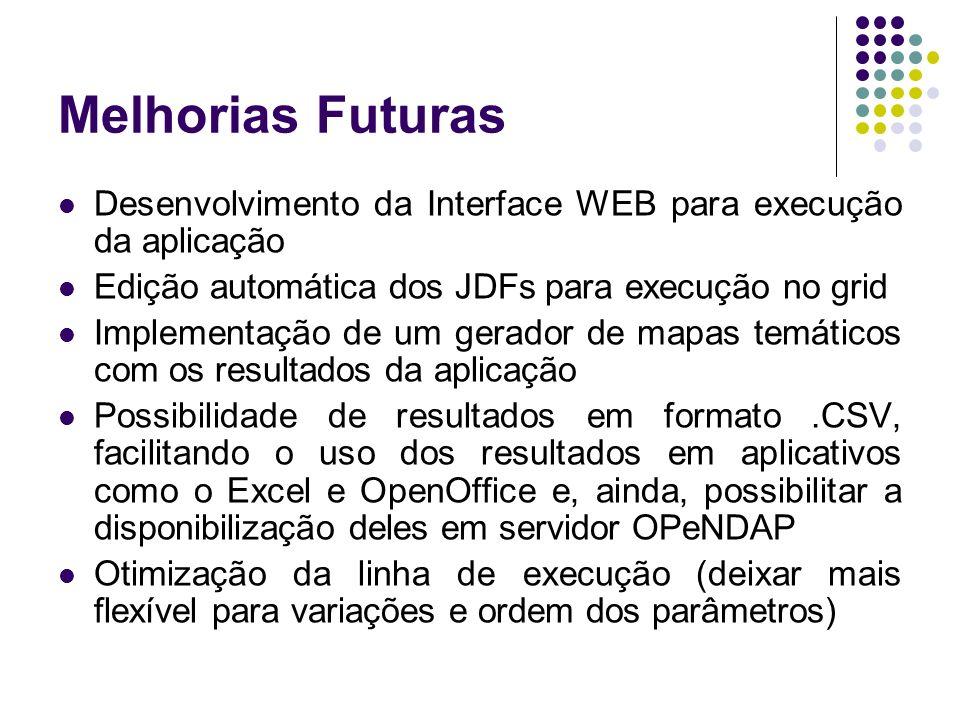 Melhorias Futuras Desenvolvimento da Interface WEB para execução da aplicação Edição automática dos JDFs para execução no grid Implementação de um ger