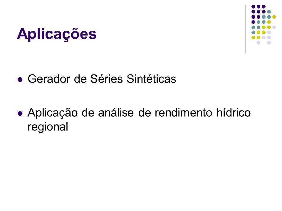Aplicações Gerador de Séries Sintéticas Aplicação de análise de rendimento hídrico regional