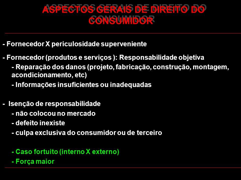ASPECTOS GERAIS DE DIREITO DO CONSUMIDOR - Fornecedor X periculosidade superveniente - Fornecedor (produtos e serviços ): Responsabilidade objetiva -