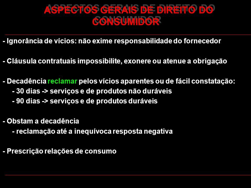 ASPECTOS GERAIS DE DIREITO DO CONSUMIDOR - Ignorância de vícios: não exime responsabilidade do fornecedor - Cláusula contratuais impossibilite, exoner