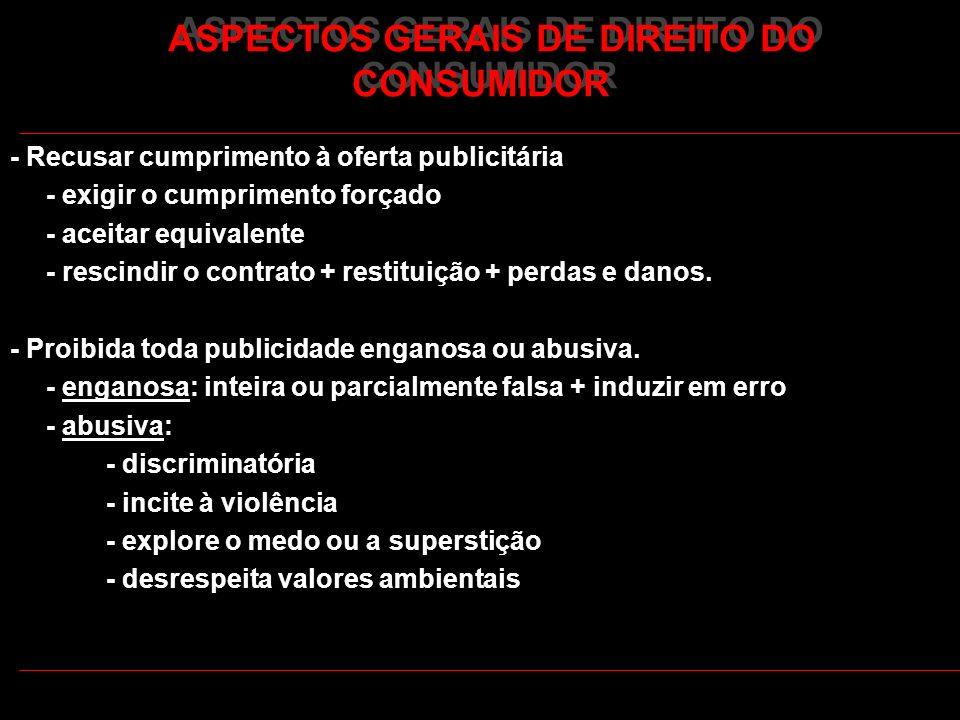 ASPECTOS GERAIS DE DIREITO DO CONSUMIDOR - Recusar cumprimento à oferta publicitária - exigir o cumprimento forçado - aceitar equivalente - rescindir