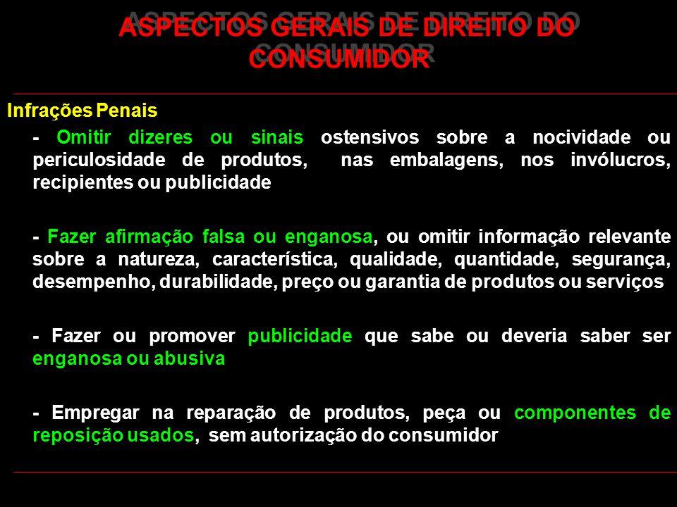ASPECTOS GERAIS DE DIREITO DO CONSUMIDOR Infrações Penais - Omitir dizeres ou sinais ostensivos sobre a nocividade ou periculosidade de produtos, nas