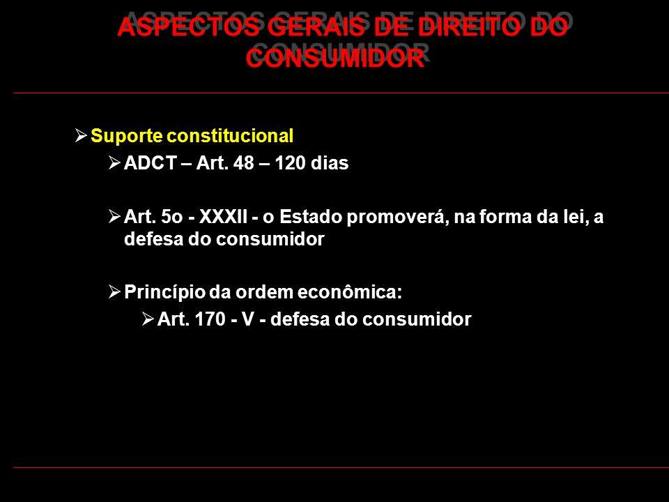 ASPECTOS GERAIS DE DIREITO DO CONSUMIDOR Suporte constitucional ADCT – Art. 48 – 120 dias Art. 5o - XXXII - o Estado promoverá, na forma da lei, a def