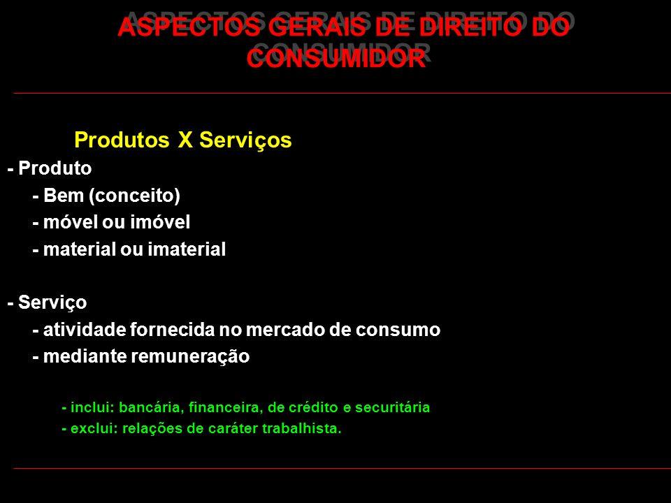 ASPECTOS GERAIS DE DIREITO DO CONSUMIDOR Produtos X Serviços - Produto - Bem (conceito) - móvel ou imóvel - material ou imaterial - Serviço - atividad