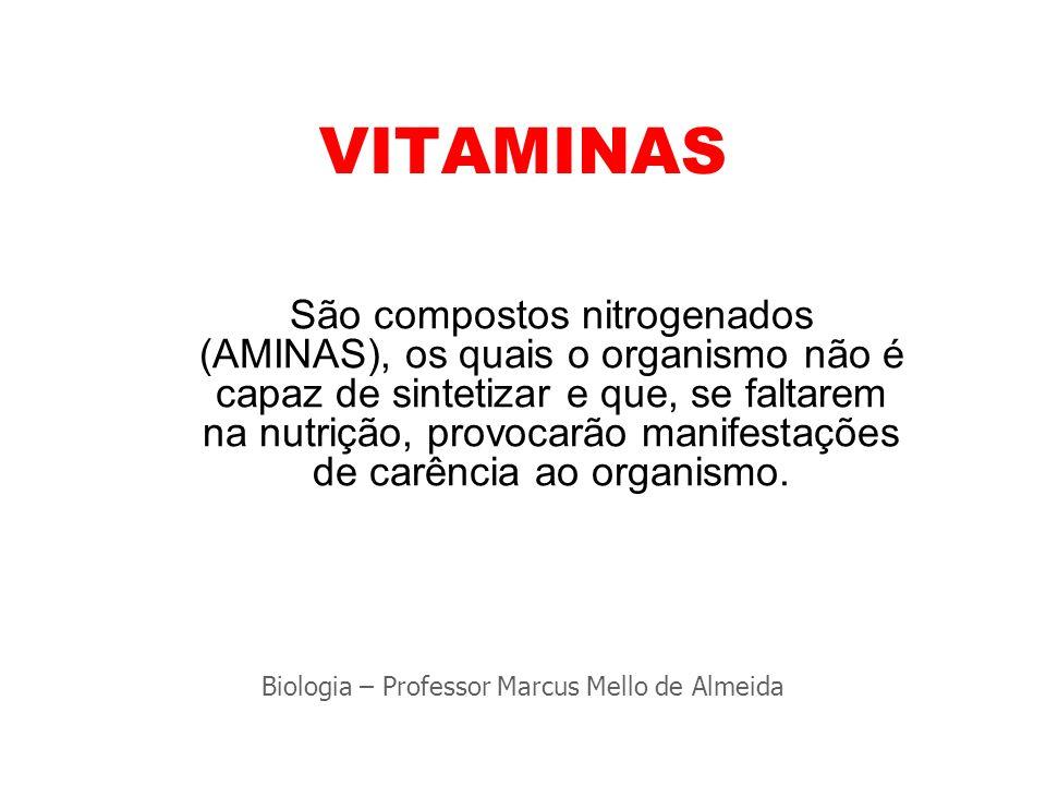VITAMINAS São compostos nitrogenados (AMINAS), os quais o organismo não é capaz de sintetizar e que, se faltarem na nutrição, provocarão manifestações