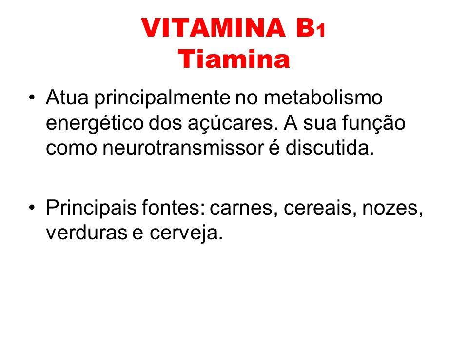 VITAMINA B 1 Tiamina Atua principalmente no metabolismo energético dos açúcares. A sua função como neurotransmissor é discutida. Principais fontes: ca