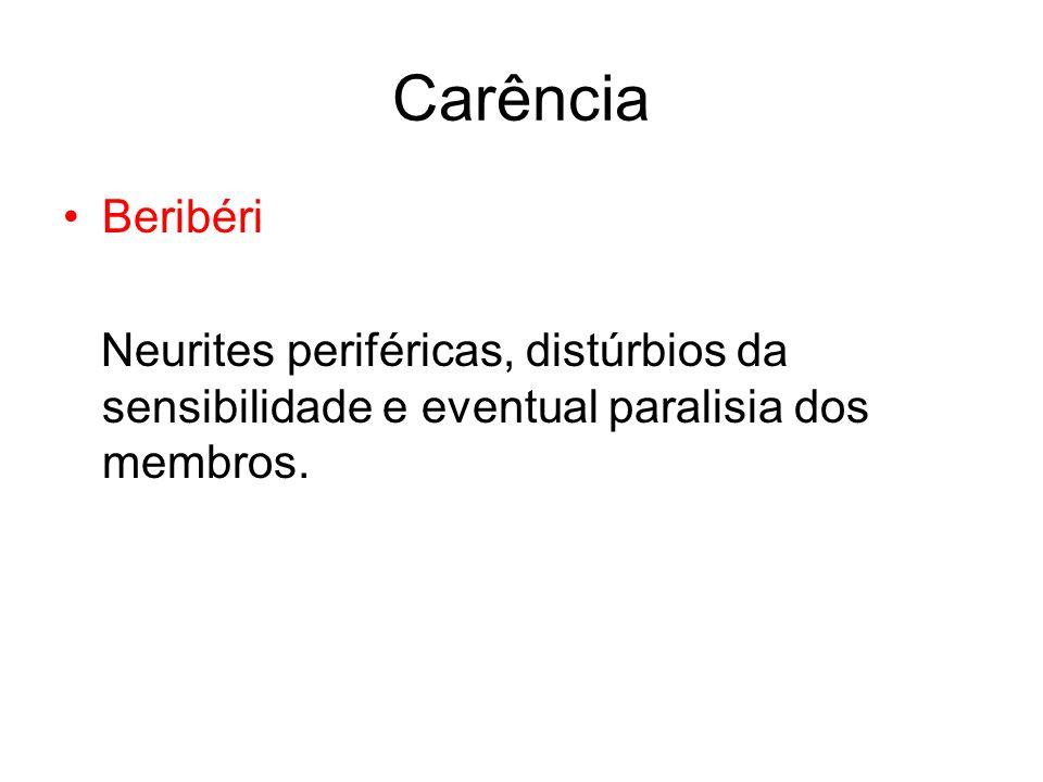Carência Beribéri Neurites periféricas, distúrbios da sensibilidade e eventual paralisia dos membros.