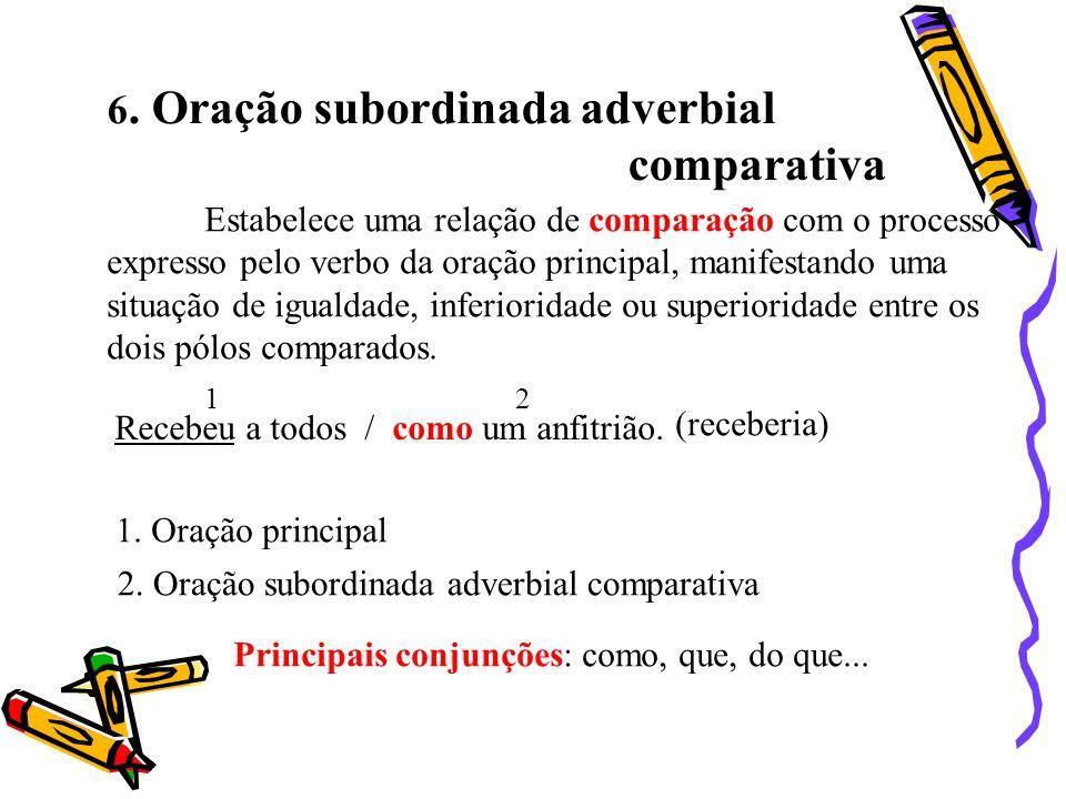 6. Oração subordinada adverbial comparativa Estabelece uma relação de comparação com o processo expresso pelo verbo da oração principal, manifestando