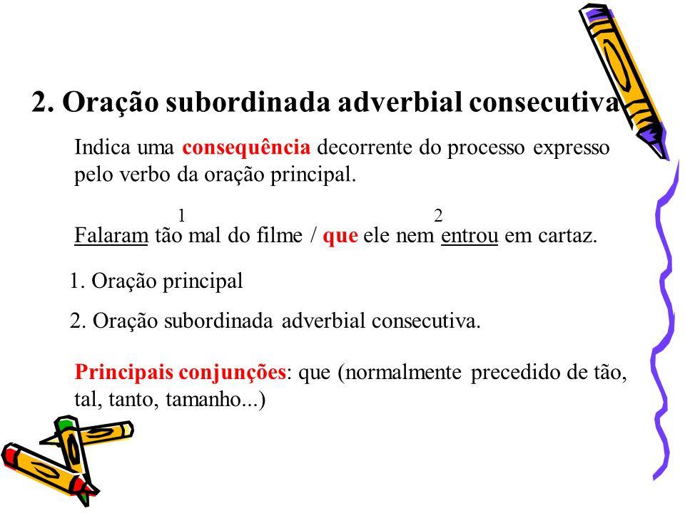 2. Oração subordinada adverbial consecutiva Indica uma consequência decorrente do processo expresso pelo verbo da oração principal. Falaram tão mal do