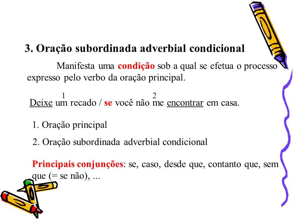 3. Oração subordinada adverbial condicional Manifesta uma condição sob a qual se efetua o processo expresso pelo verbo da oração principal. Deixe um r