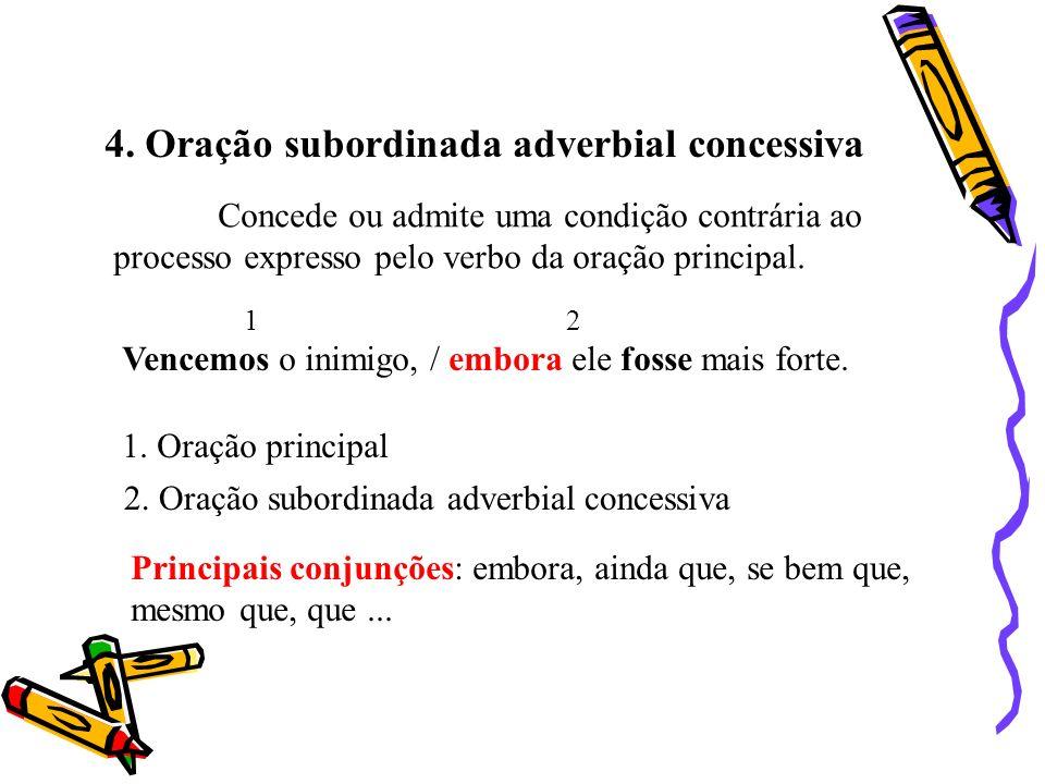 4. Oração subordinada adverbial concessiva Concede ou admite uma condição contrária ao processo expresso pelo verbo da oração principal. Vencemos o in