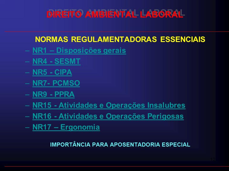 12 DIREITO AMBIENTAL LABORAL NORMAS REGULAMENTADORAS ESSENCIAIS –NR1 – Disposições gerais –NR4 - SESMT –NR5 - CIPANR5 - CIPA –NR7- PCMSONR7- –NR9 - PP