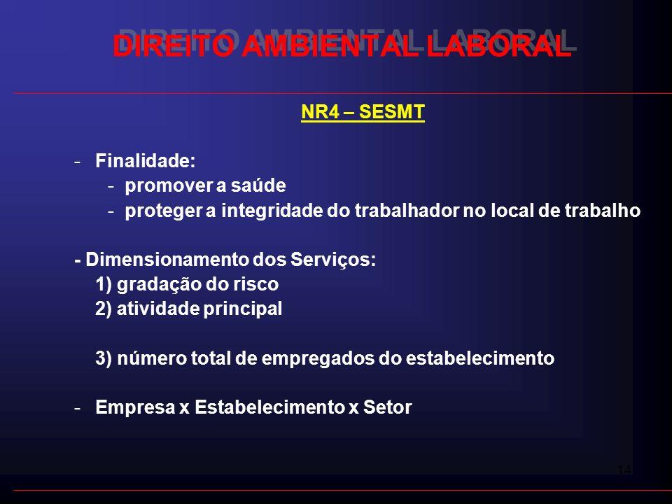 14 DIREITO AMBIENTAL LABORAL NR4 – SESMT -Finalidade: -promover a saúde -proteger a integridade do trabalhador no local de trabalho - Dimensionamento