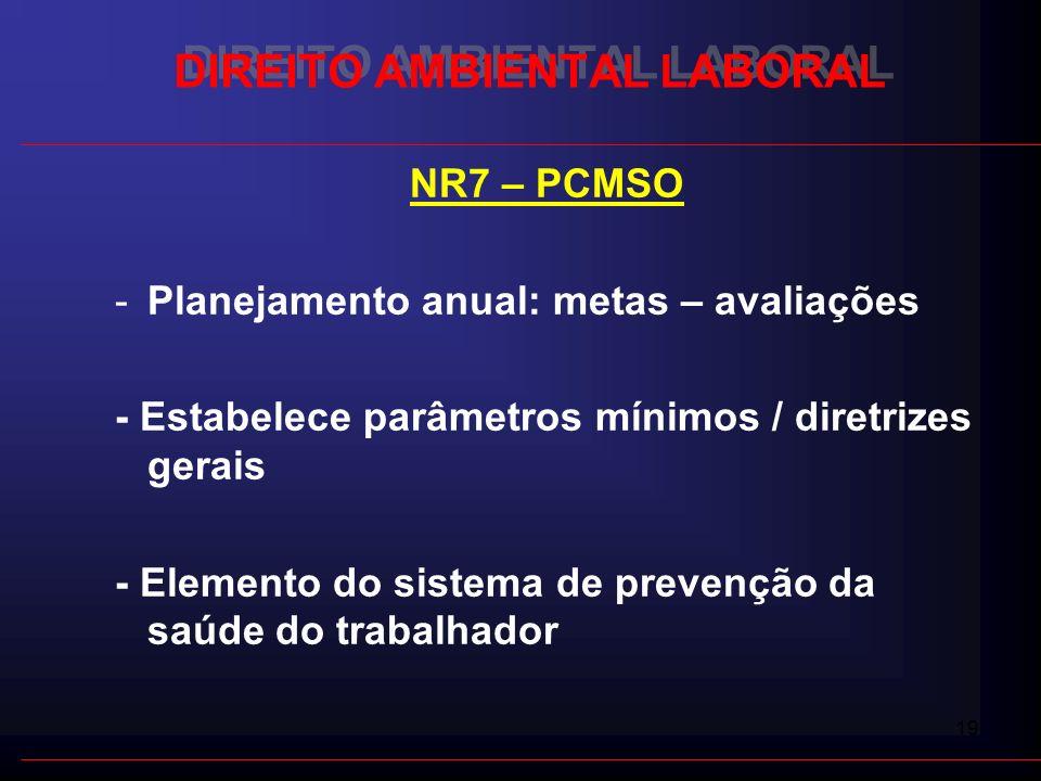 19 DIREITO AMBIENTAL LABORAL NR7 – PCMSO -Planejamento anual: metas – avaliações - Estabelece parâmetros mínimos / diretrizes gerais - Elemento do sis