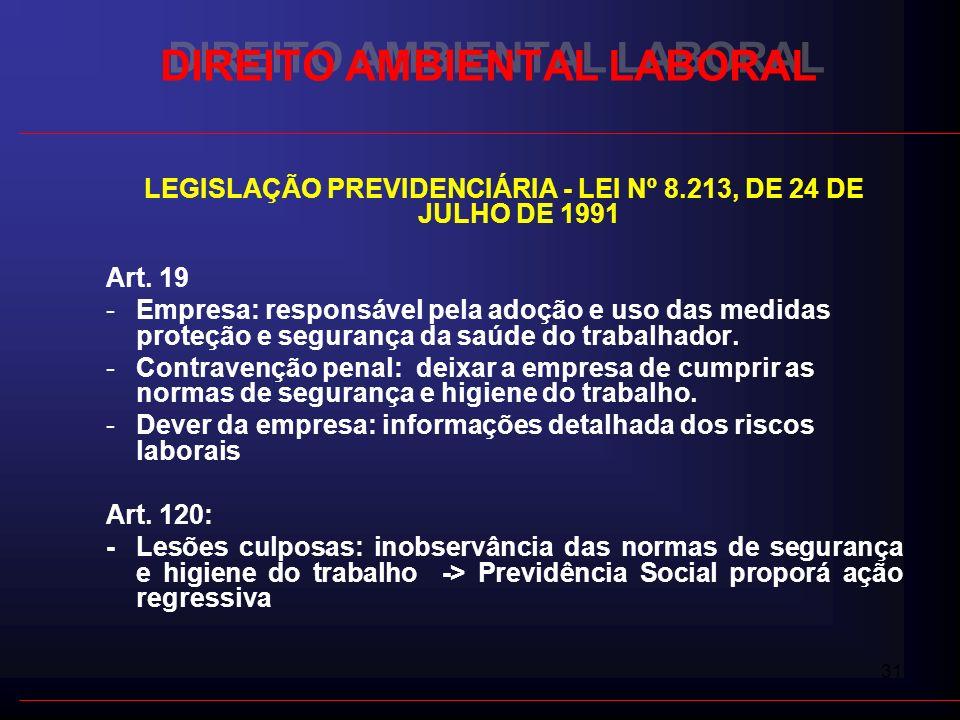 31 DIREITO AMBIENTAL LABORAL LEGISLAÇÃO PREVIDENCIÁRIA - LEI Nº 8.213, DE 24 DE JULHO DE 1991 Art. 19 -Empresa: responsável pela adoção e uso das medi