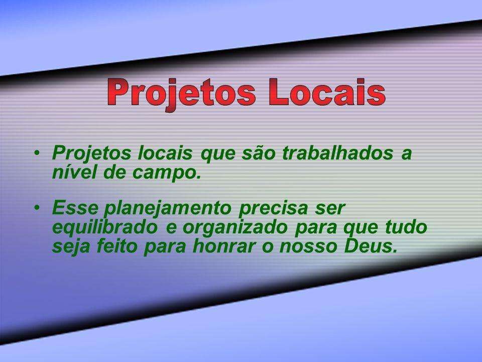 Projetos locais que são trabalhados a nível de campo. Esse planejamento precisa ser equilibrado e organizado para que tudo seja feito para honrar o no