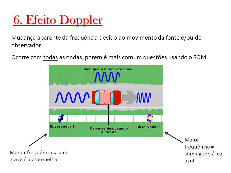 6. Efeito Doppler Mudança aparente da frequência devido ao movimento da fonte e/ou do observador. Ocorre com todas as ondas, porem é mais comum questõ