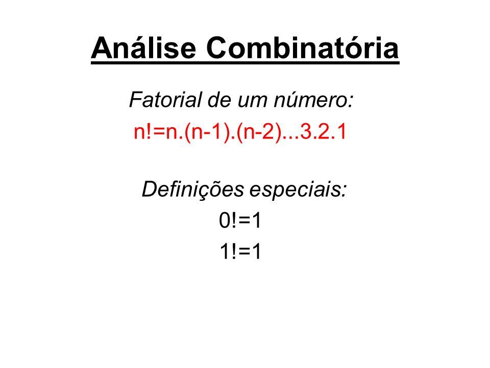 Análise Combinatória Fatorial de um número: n!=n.(n-1).(n-2)...3.2.1 Definições especiais: 0!=1 1!=1
