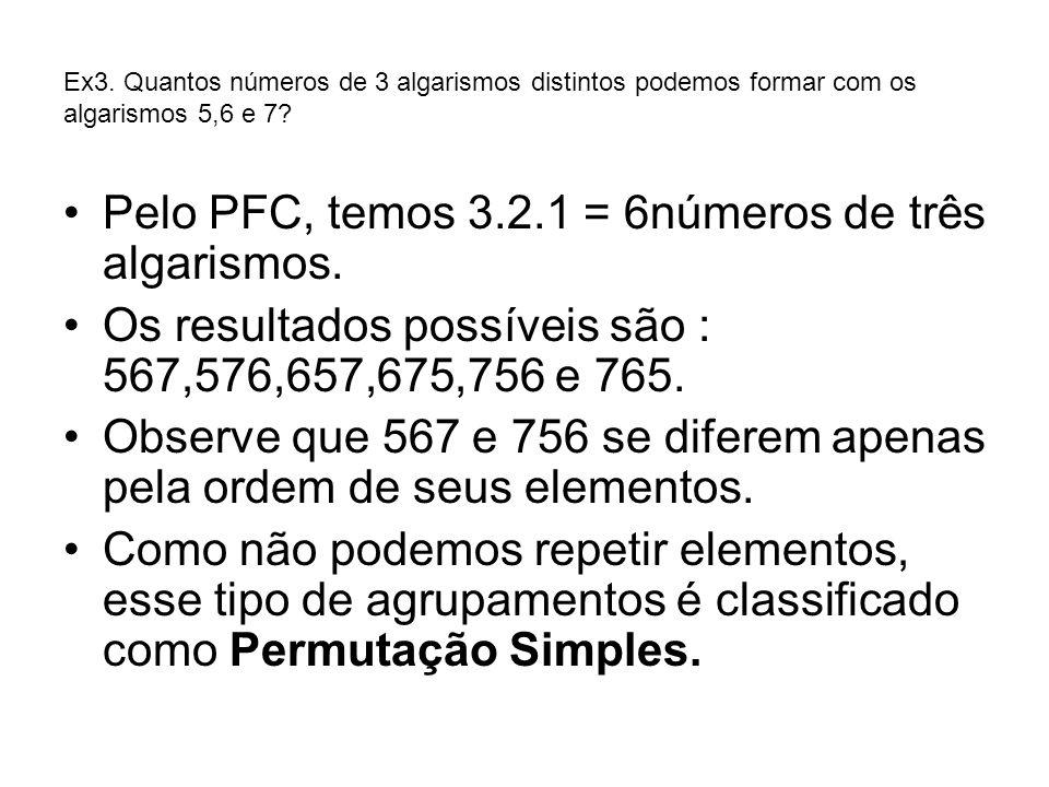 Ex3. Quantos números de 3 algarismos distintos podemos formar com os algarismos 5,6 e 7? Pelo PFC, temos 3.2.1 = 6números de três algarismos. Os resul