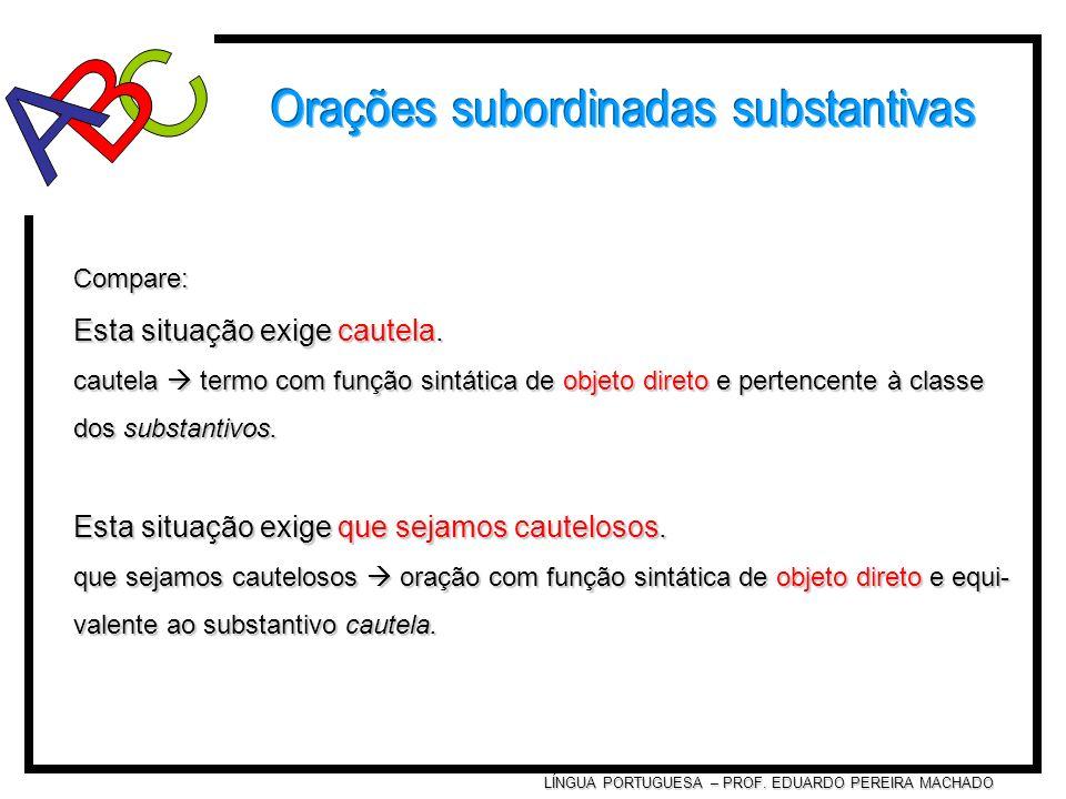 LÍNGUA PORTUGUESA – PROF. EDUARDO PEREIRA MACHADO Compare: Esta situação exige cautela. cautela termo com função sintática de objeto direto e pertence