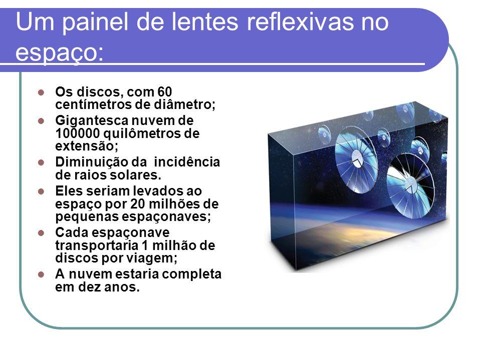Um painel de lentes reflexivas no espaço: Os discos, com 60 centímetros de diâmetro; Gigantesca nuvem de 100000 quilômetros de extensão; Diminuição da