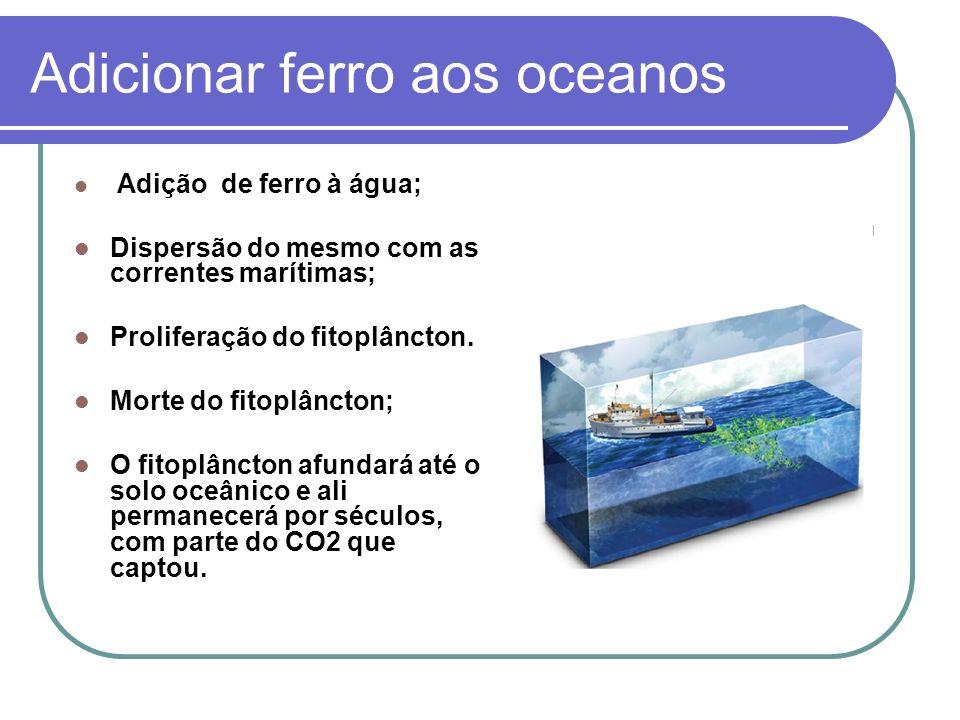 Adicionar ferro aos oceanos Adição de ferro à água; Dispersão do mesmo com as correntes marítimas; Proliferação do fitoplâncton. Morte do fitoplâncton