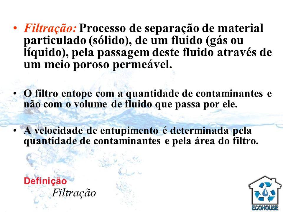 Filtração: Processo de separação de material particulado (sólido), de um fluido (gás ou líquido), pela passagem deste fluido através de um meio poroso