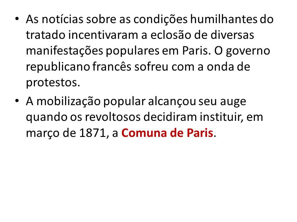 As notícias sobre as condições humilhantes do tratado incentivaram a eclosão de diversas manifestações populares em Paris. O governo republicano franc