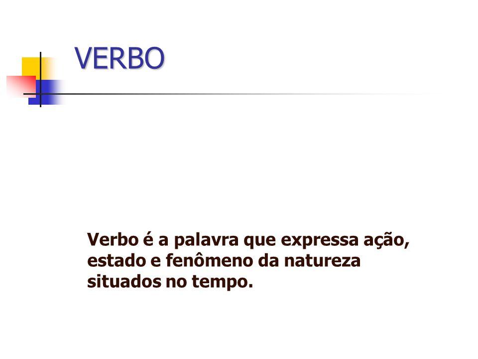 VERBO Verbo é a palavra que expressa ação, estado e fenômeno da natureza situados no tempo.