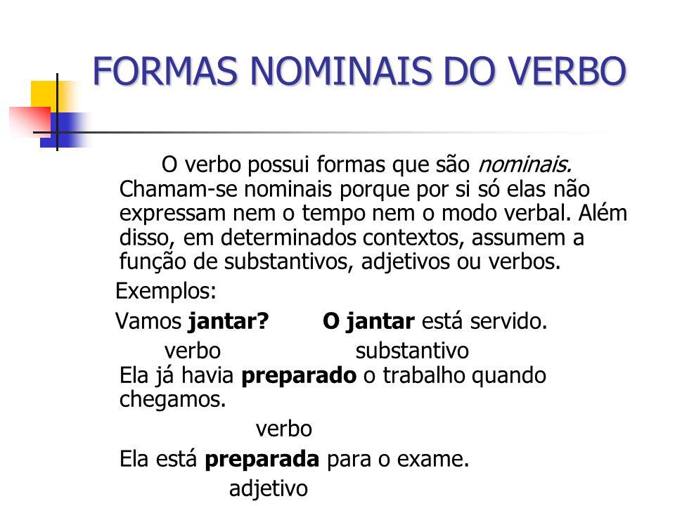 FORMAS NOMINAIS DO VERBO O verbo possui formas que são nominais. Chamam-se nominais porque por si só elas não expressam nem o tempo nem o modo verbal.