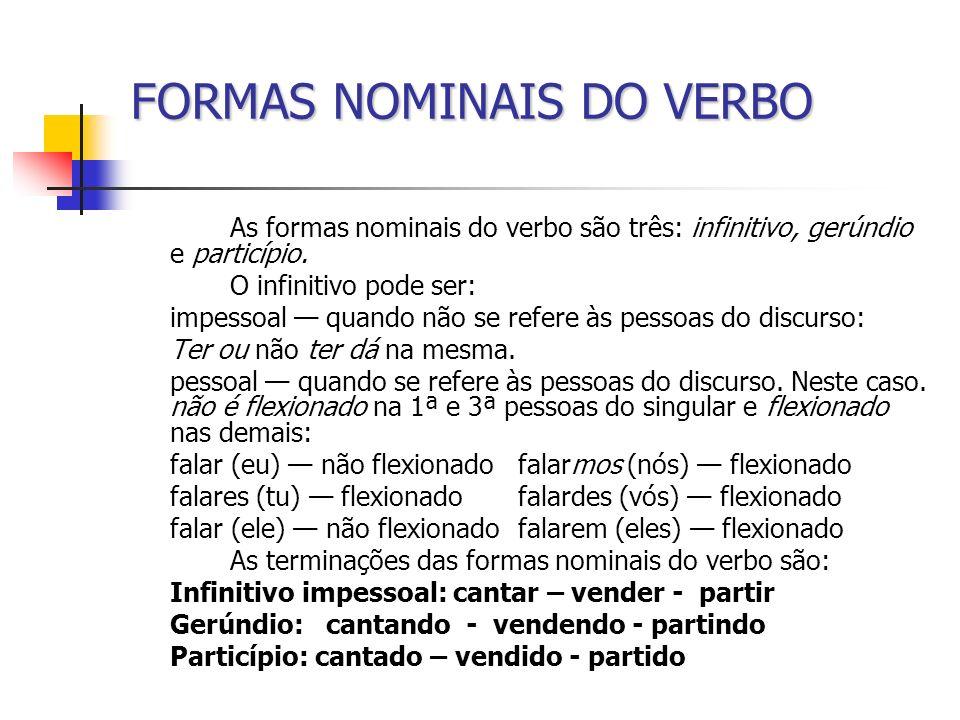 FORMAS NOMINAIS DO VERBO As formas nominais do verbo são três: infinitivo, gerúndio e particípio. O infinitivo pode ser: impessoal quando não se refer